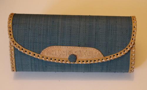 madagascar-Porte feuille en raphia et cuir